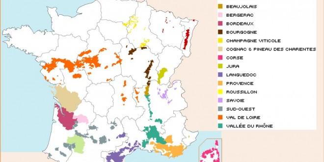 Carte des vignobles français
