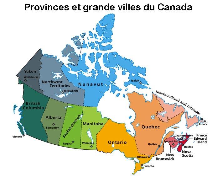 Carte des provinces et grandes villes du Canada