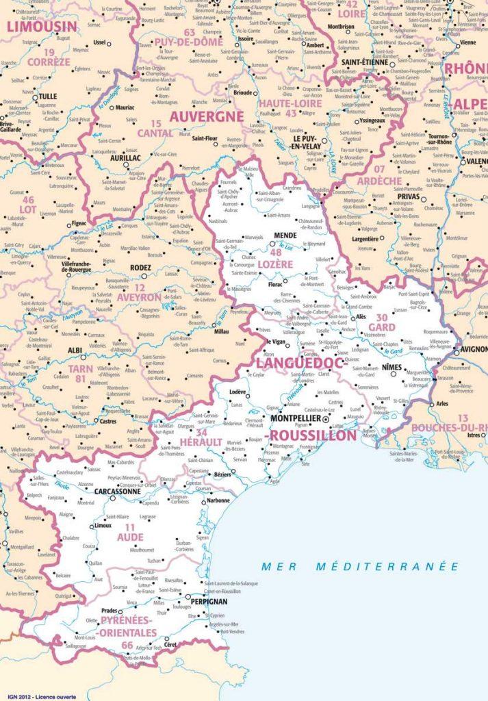 languedoc roussillon villes carte