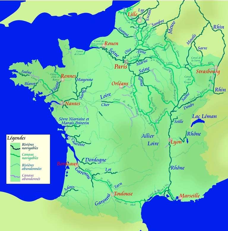 Rivières - Carte fluviale de France