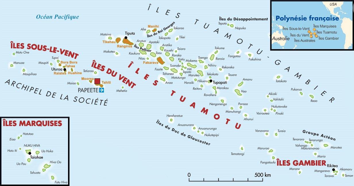 Carte - Tahiti et Polynésie