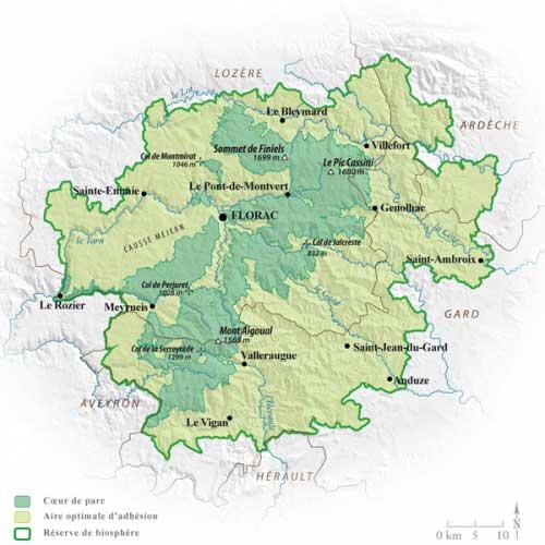 Carte du Parc des Cévennes