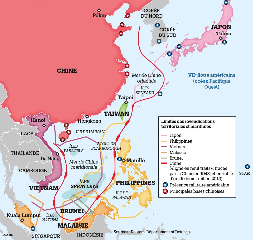 Carte mer de Chine