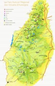 Carte des Parcs - Volcans en Auvergne