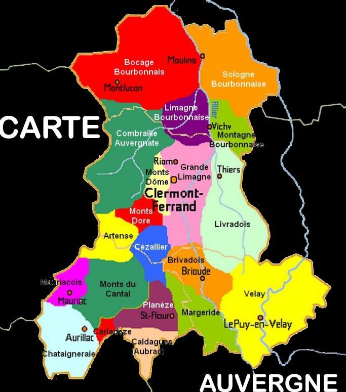 Carte d Auvergne