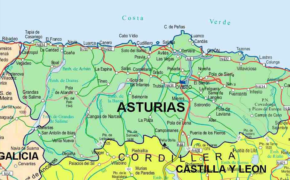 carte des Asturies