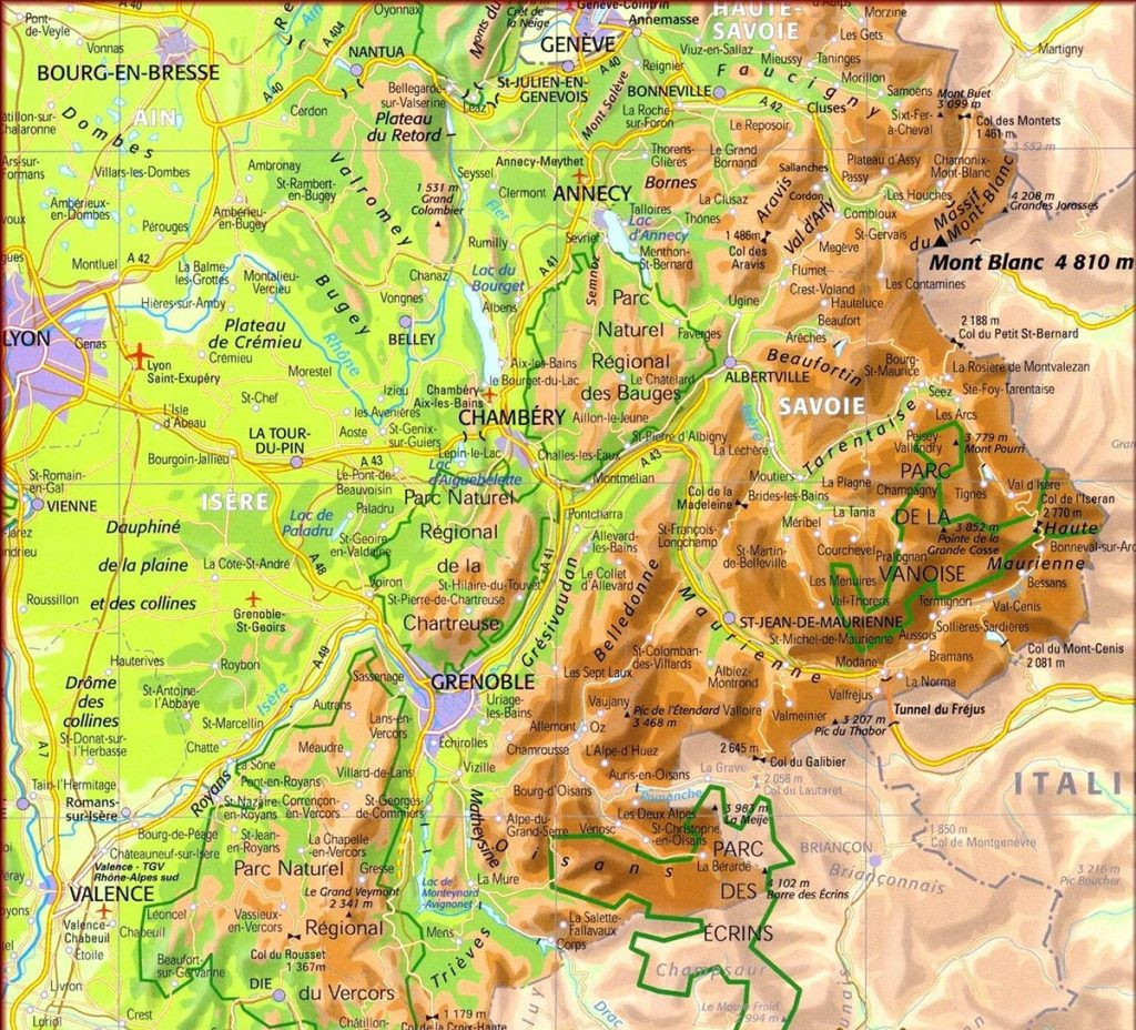 carte - massif des alpes