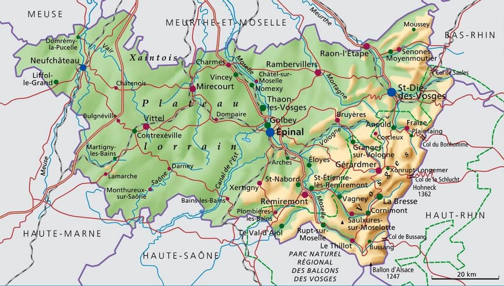 Massif des Vosges - Carte