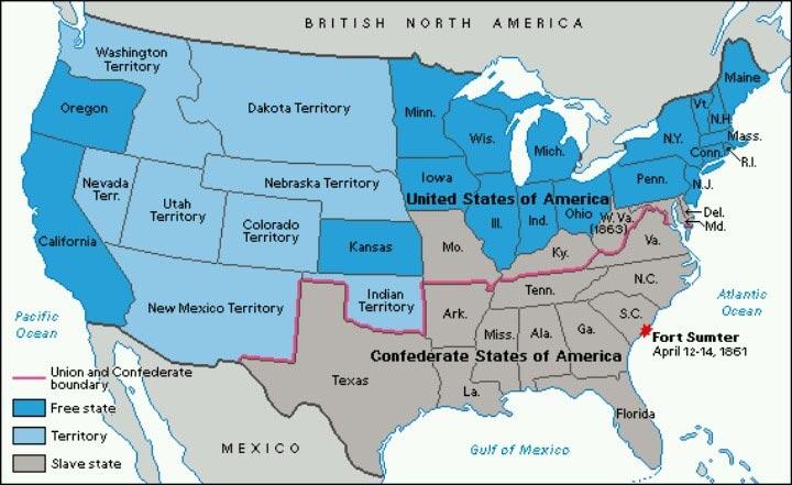 Carte dela Guerre de Sécession