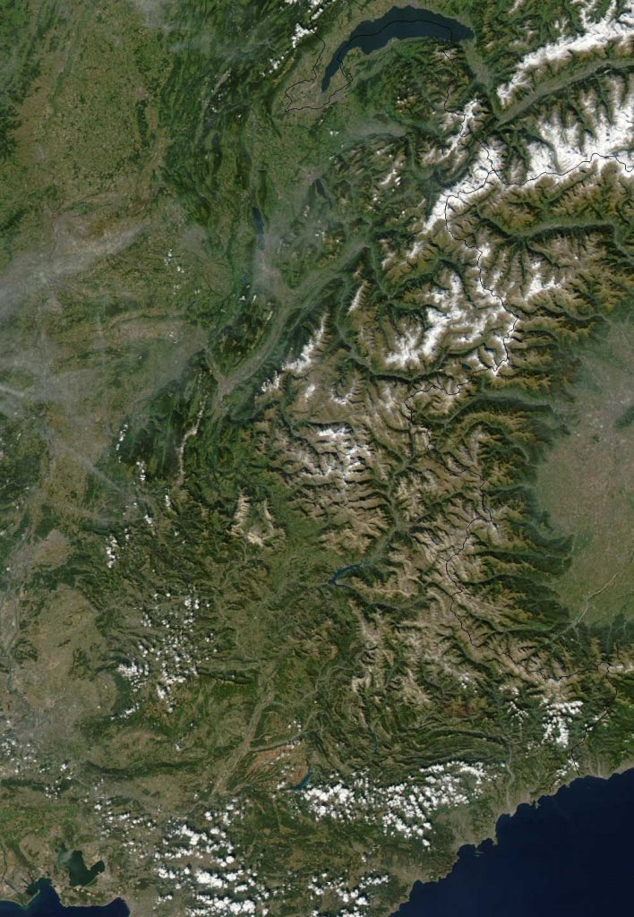 Carte satellite du Sillon Alpin