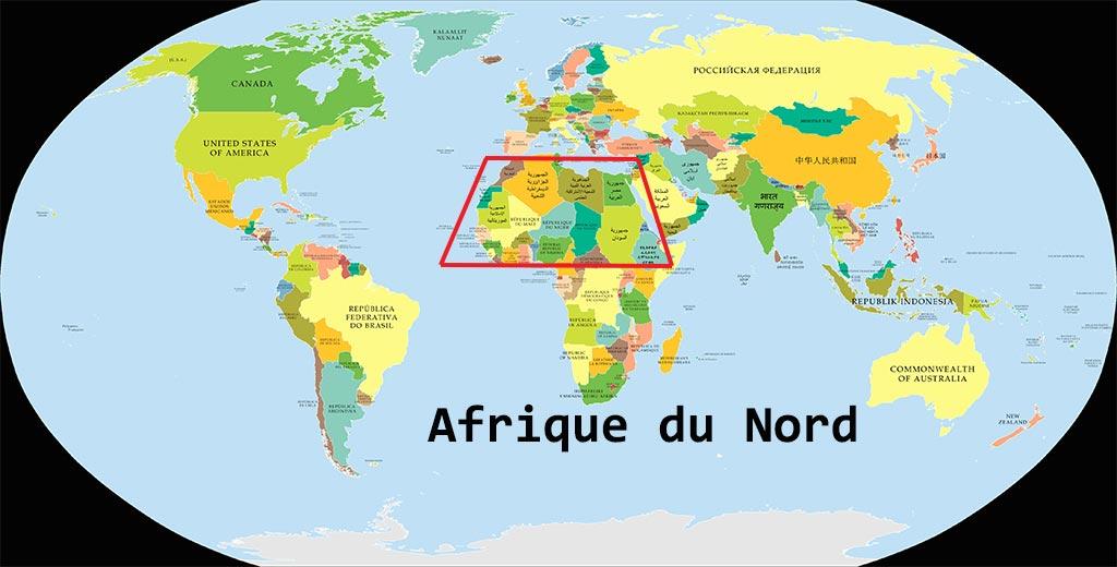 Afrique du Nord sur la Carte du Monde