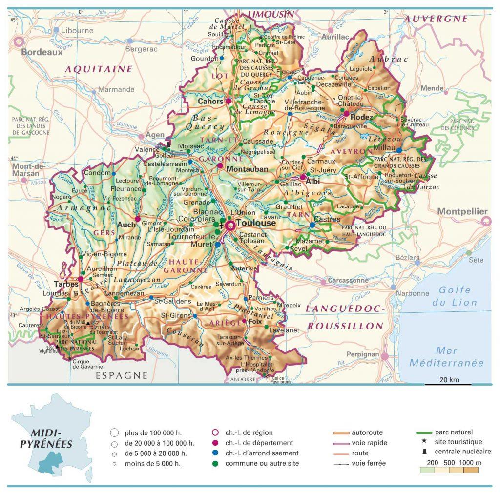 Midi-Pyrénées carte