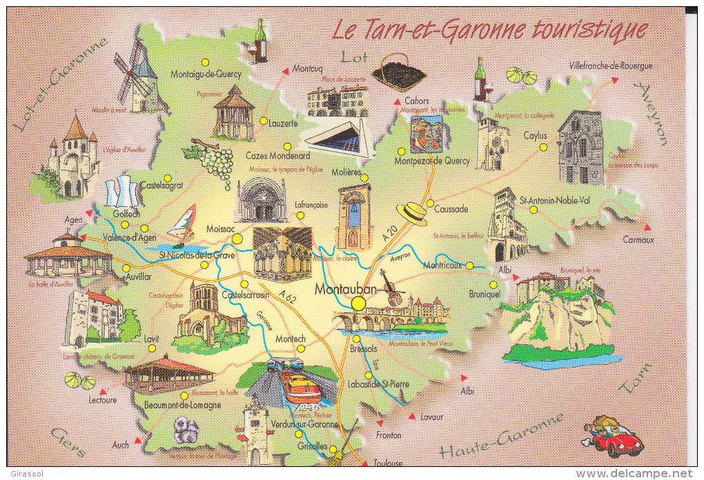 Tarn et Garonne carte touristique