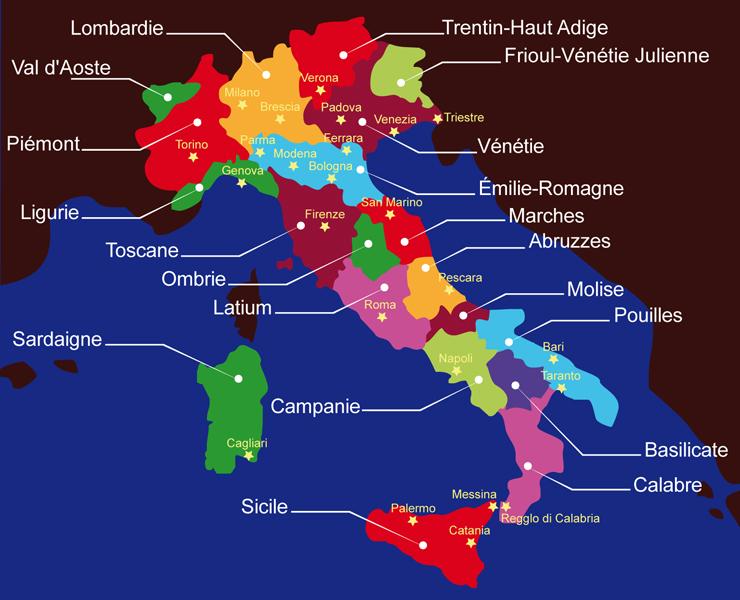 Carte Italie - Régions