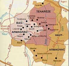 Carte de la région Armagnac