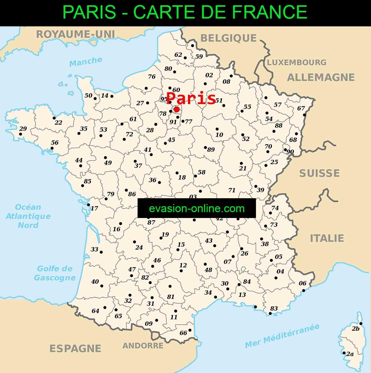 Paris sur la carte de France » Vacances - Arts- Guides Voyages