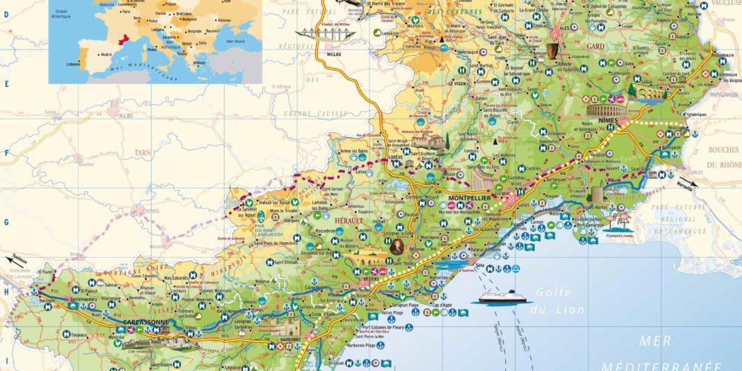Carte Languedoc Roussillon.Carte Languedoc Vacances Arts Guides Voyages