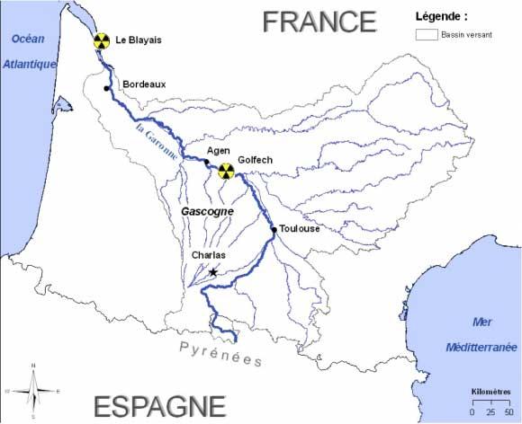 Carte de la Garonne