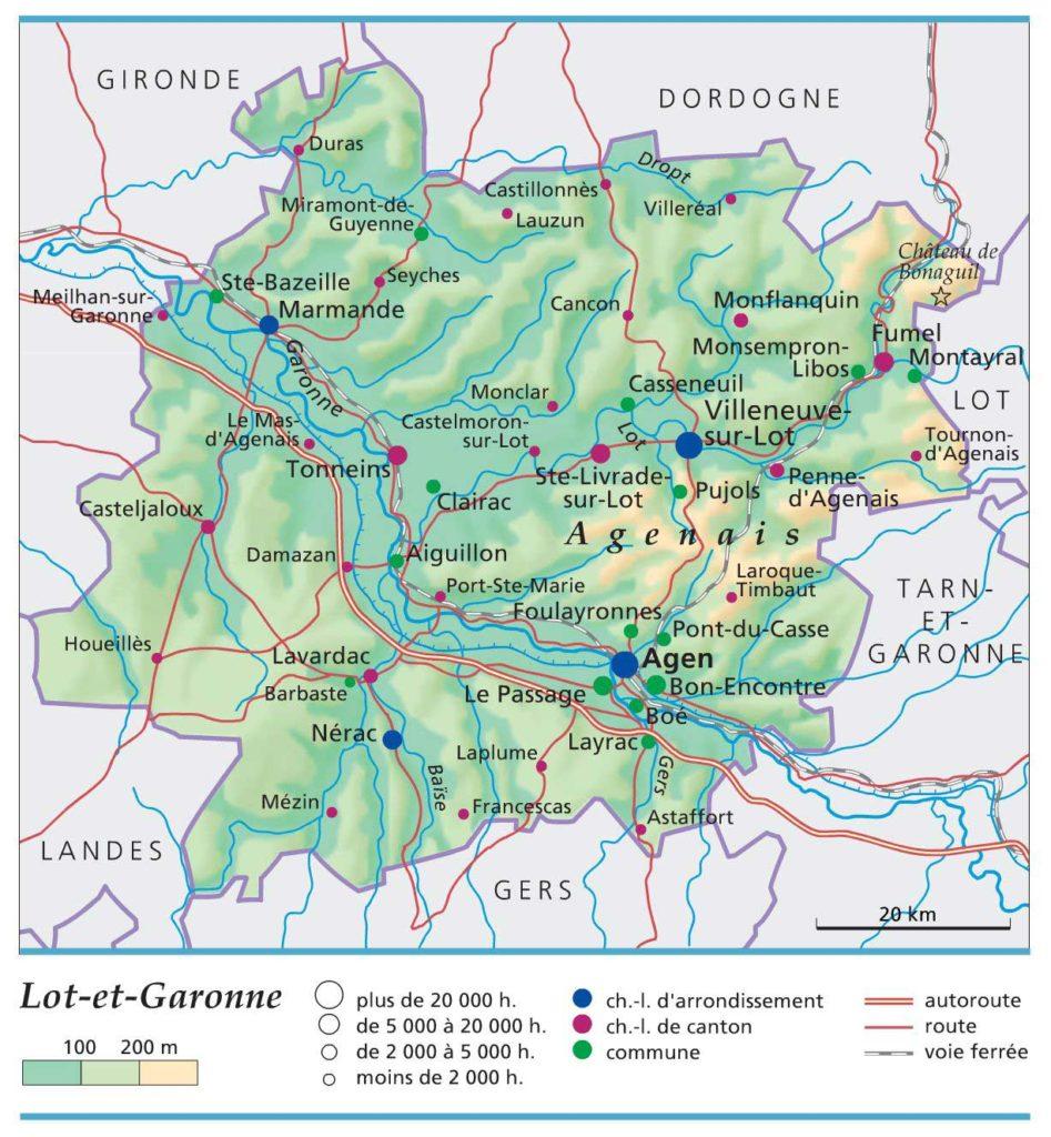 Lot-et-Garonne. Carte .HD