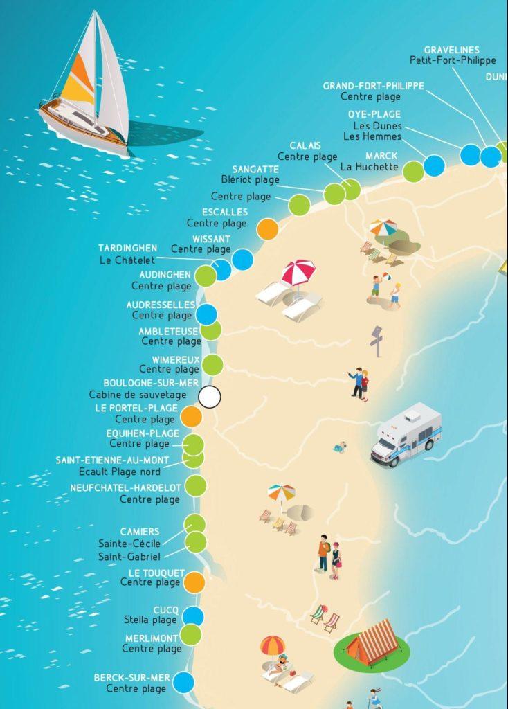 Carte des plages françaises