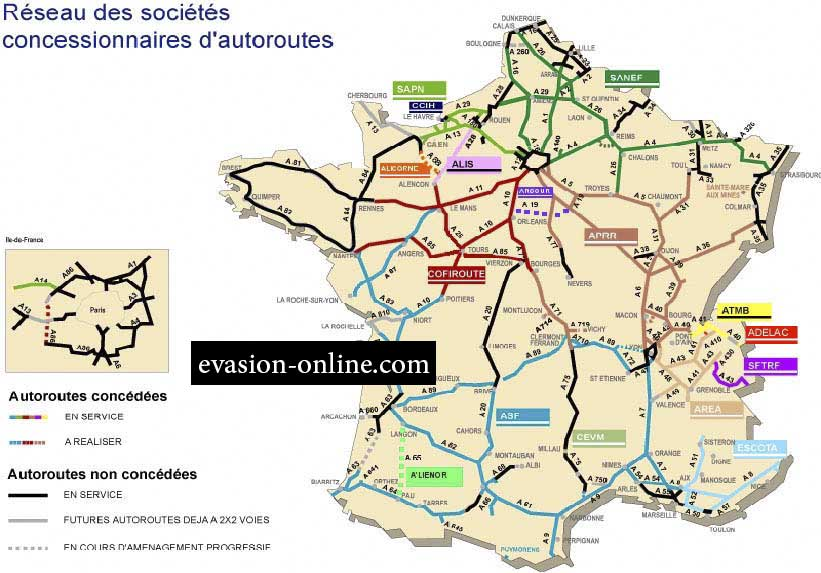 Carte des Autoroutes en France