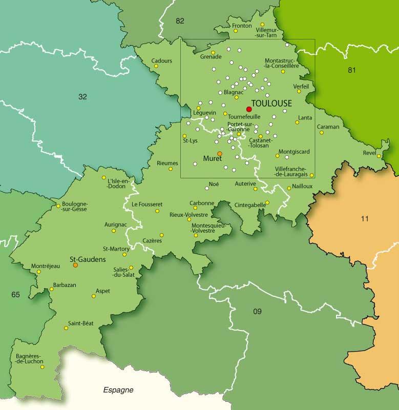 Haute-Garonne - Carte détaillée