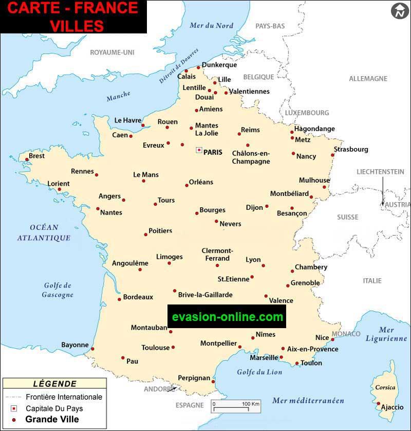 carte-de-france - Grandes villes