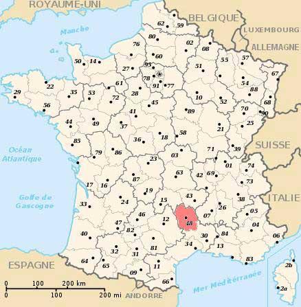 Carte département 48 - Lozère