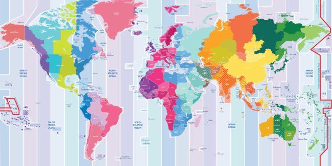 Carte des fuseaux horaires du monde