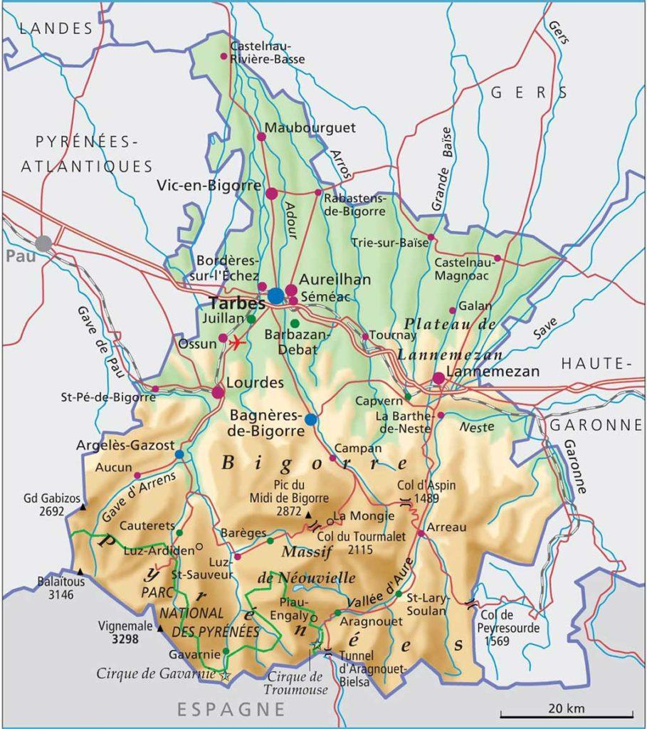 Carte détaillée des Hautes-Pyrénées