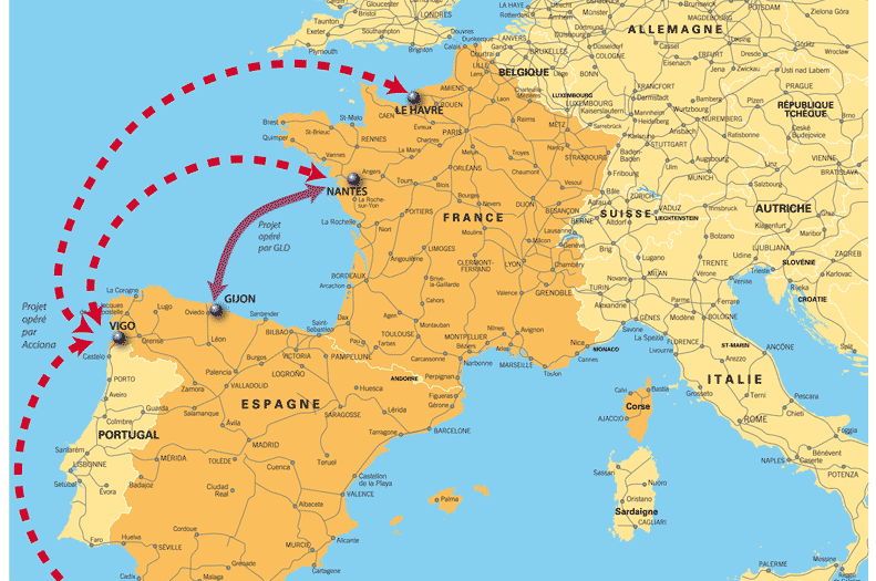 Carte Espagne France