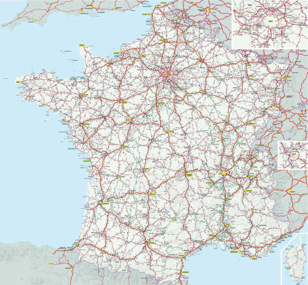 Carte de France routière - Grand itinéraires