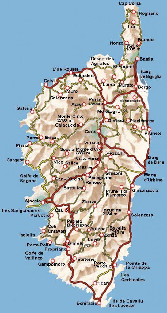 Carte des routes de la Corse