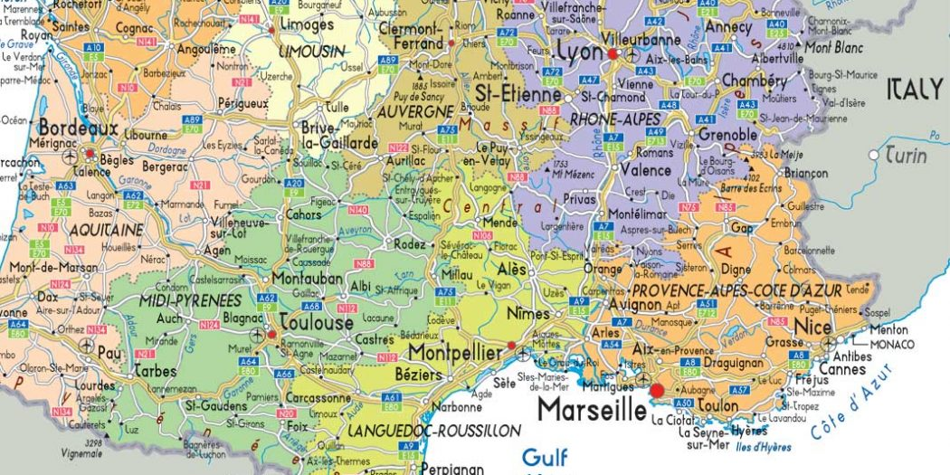 carte-du-sud-de-la-france-villes - Photo