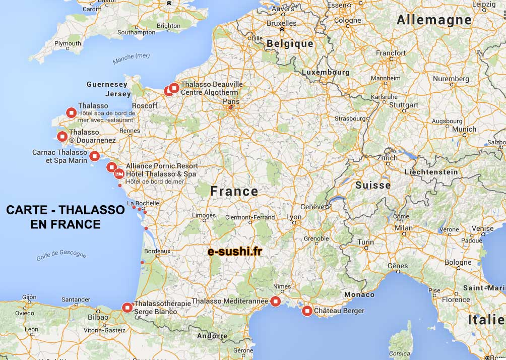 carte des centres de thalassoth rapie en france arts et voyages. Black Bedroom Furniture Sets. Home Design Ideas