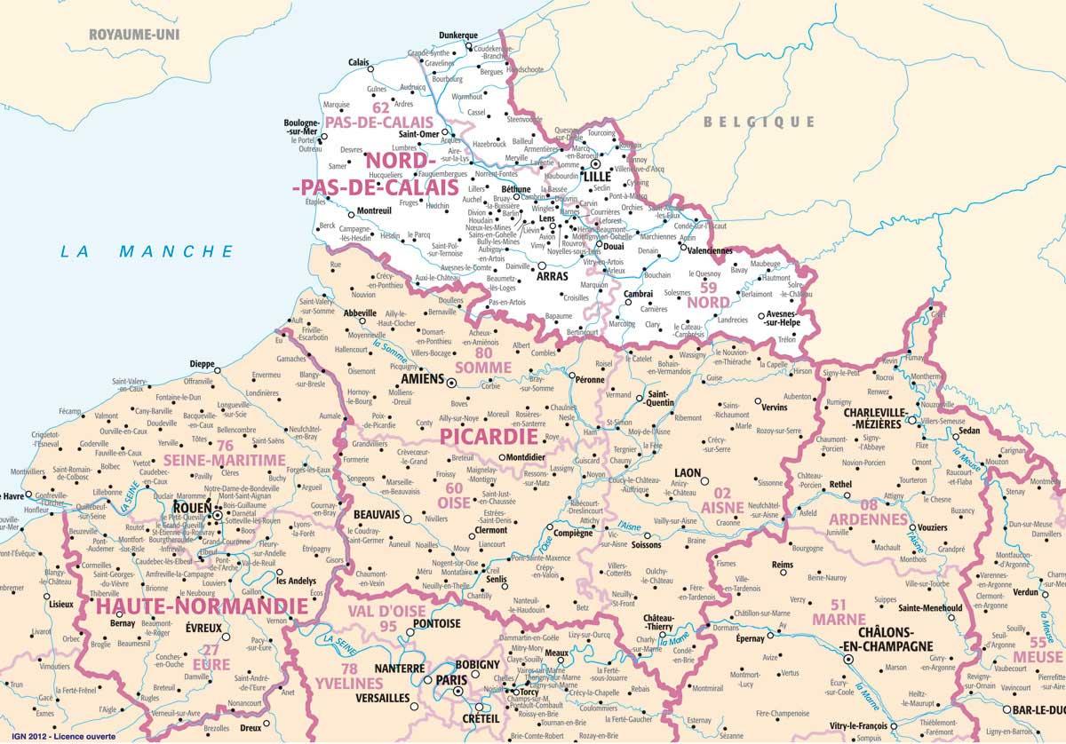 Carte des villes du Nord de la France