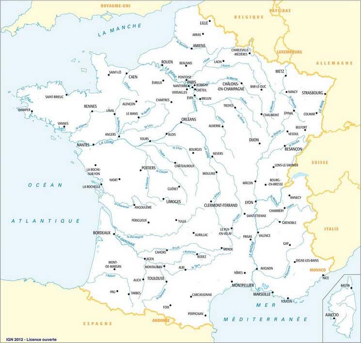 Exercice Carte De La France Principale Ville De France