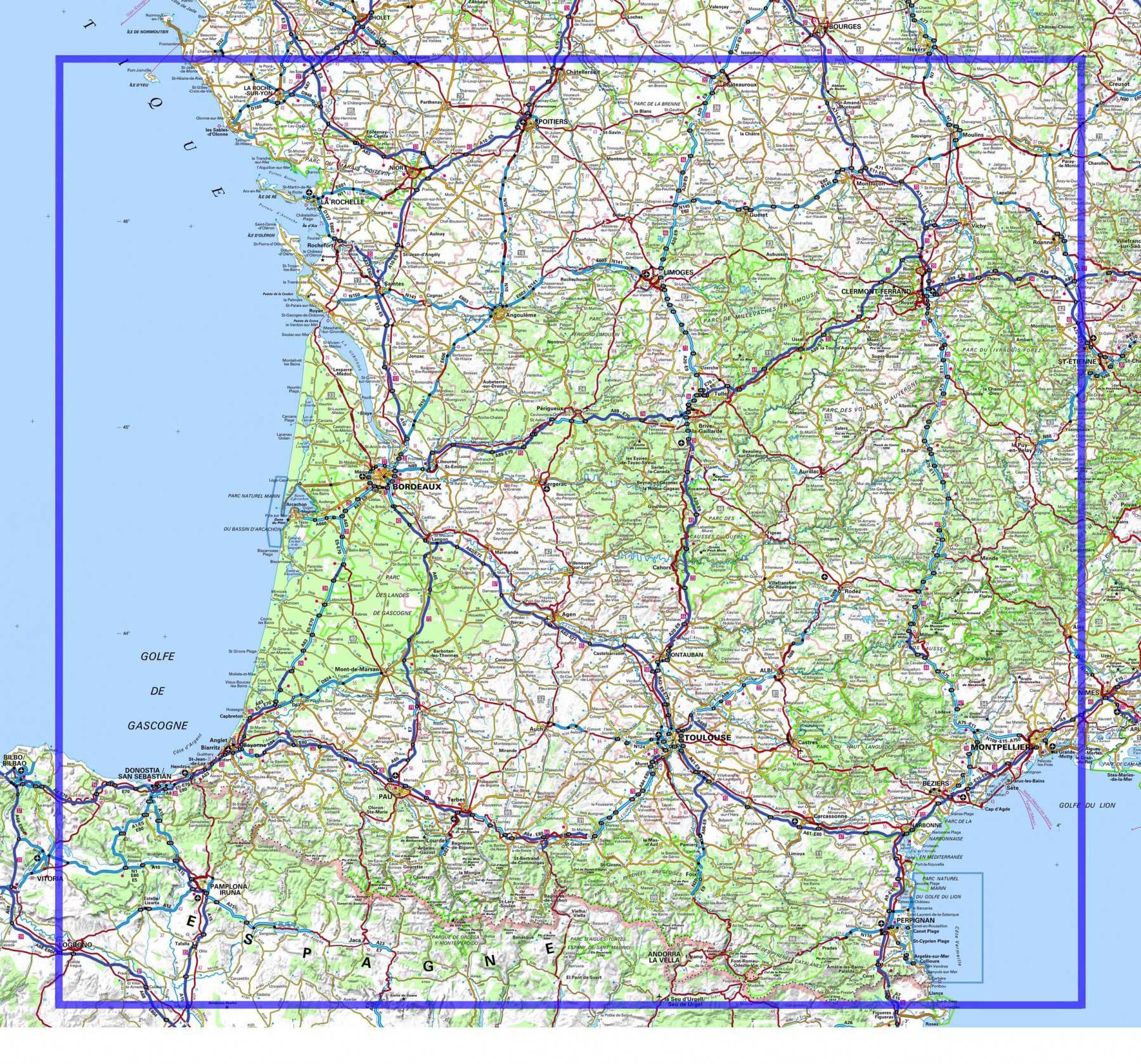 sud ouest de la france carte