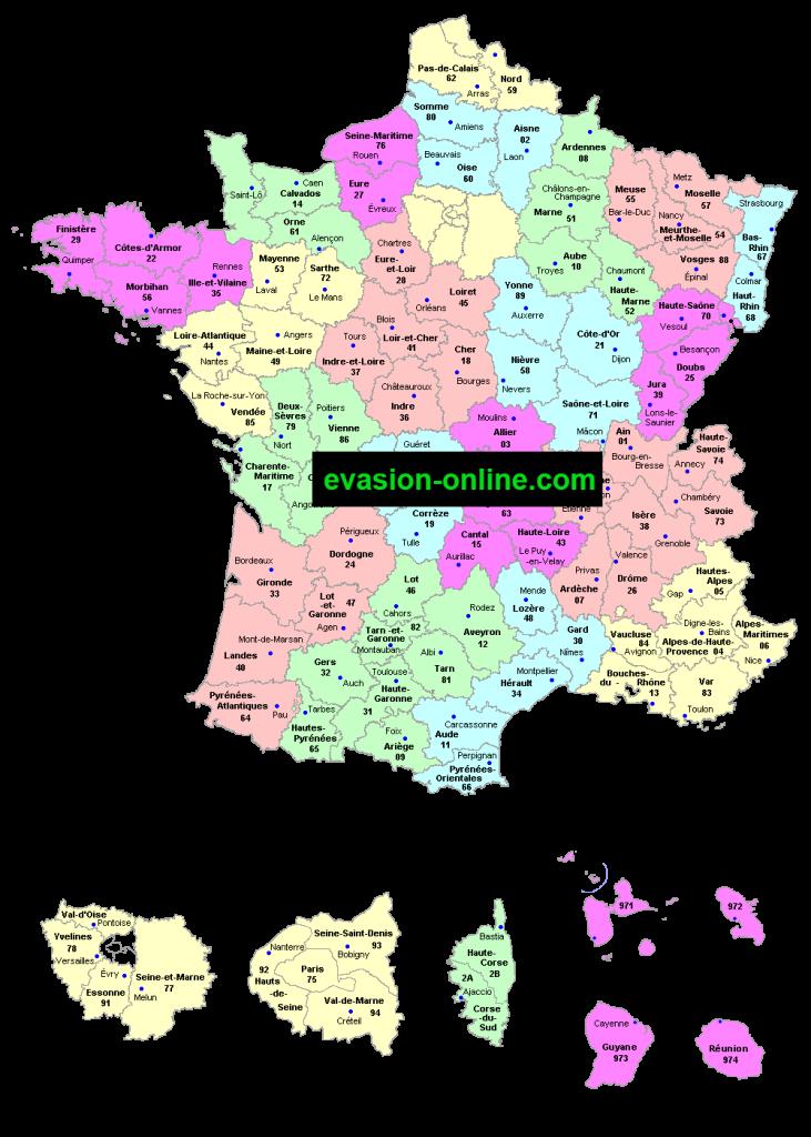 France départements - Carte détaillée