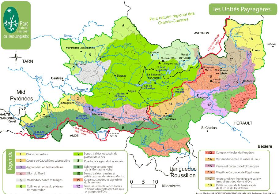 Unités paysagères du Parc du Haut-Languedoc