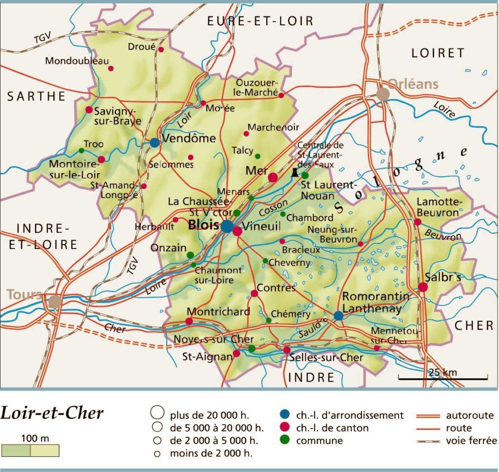Loir et Cher carte détaillée