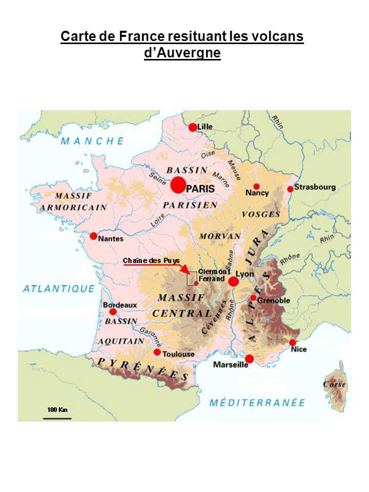 Carte de France des volcans en Auvergne