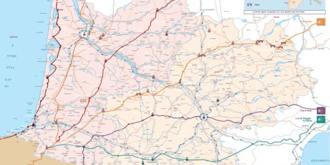 Carte routière du sud Ouest de la France