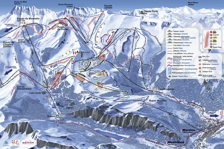 Avoriaz - Carte des pistes de Ski