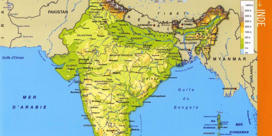 Carte Inde Relief.Inde Carte Vacances Arts Guides Voyages