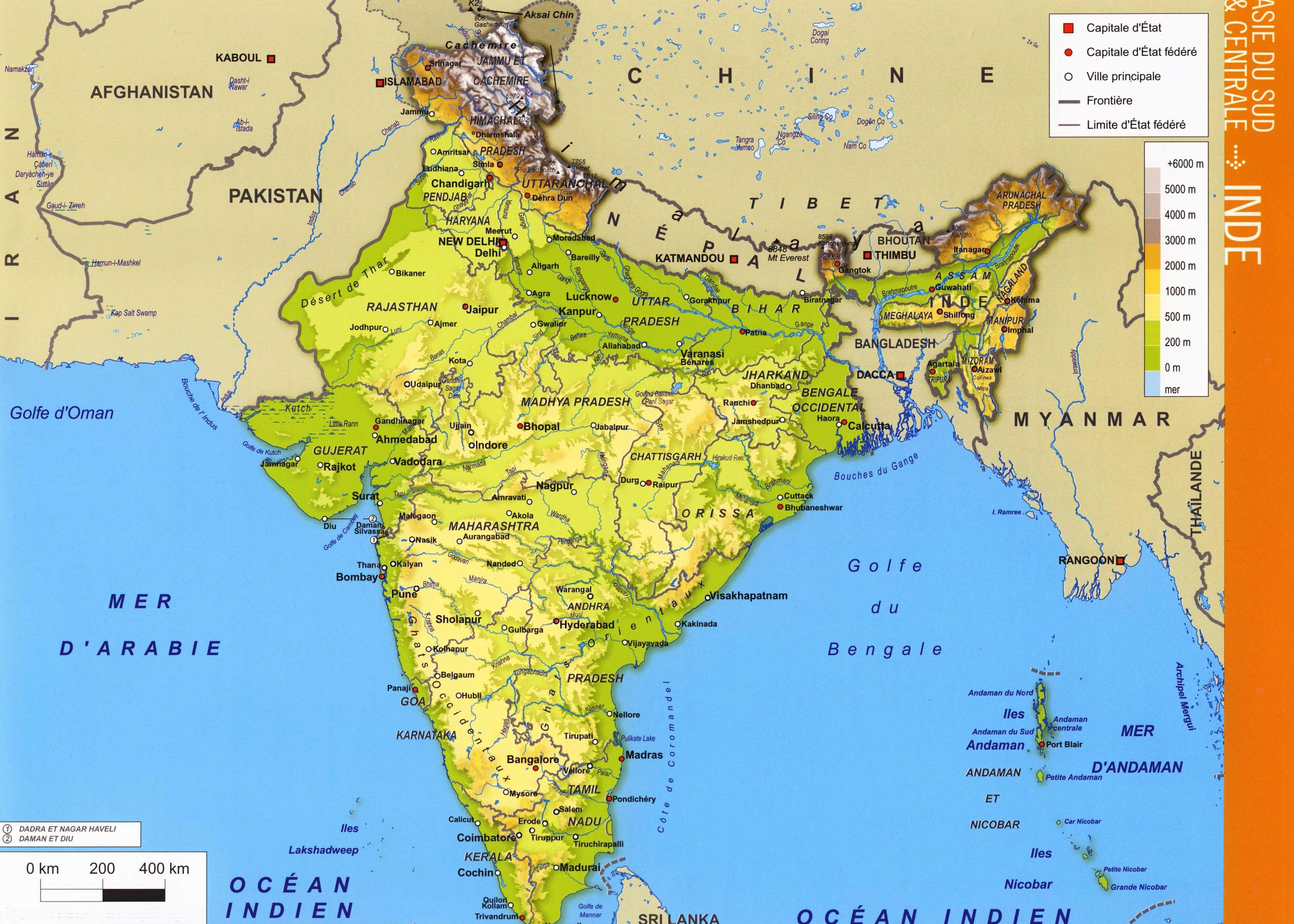 Carte De Linde Avec Le Gange.Inde Carte Vacances Arts Guides Voyages