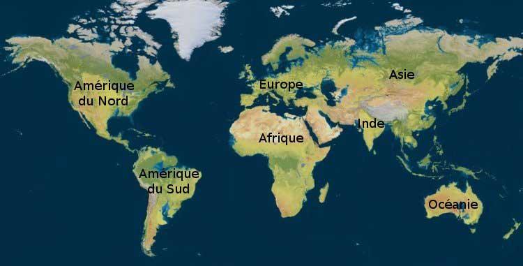 Inde - Carte du monde avec noms des pays