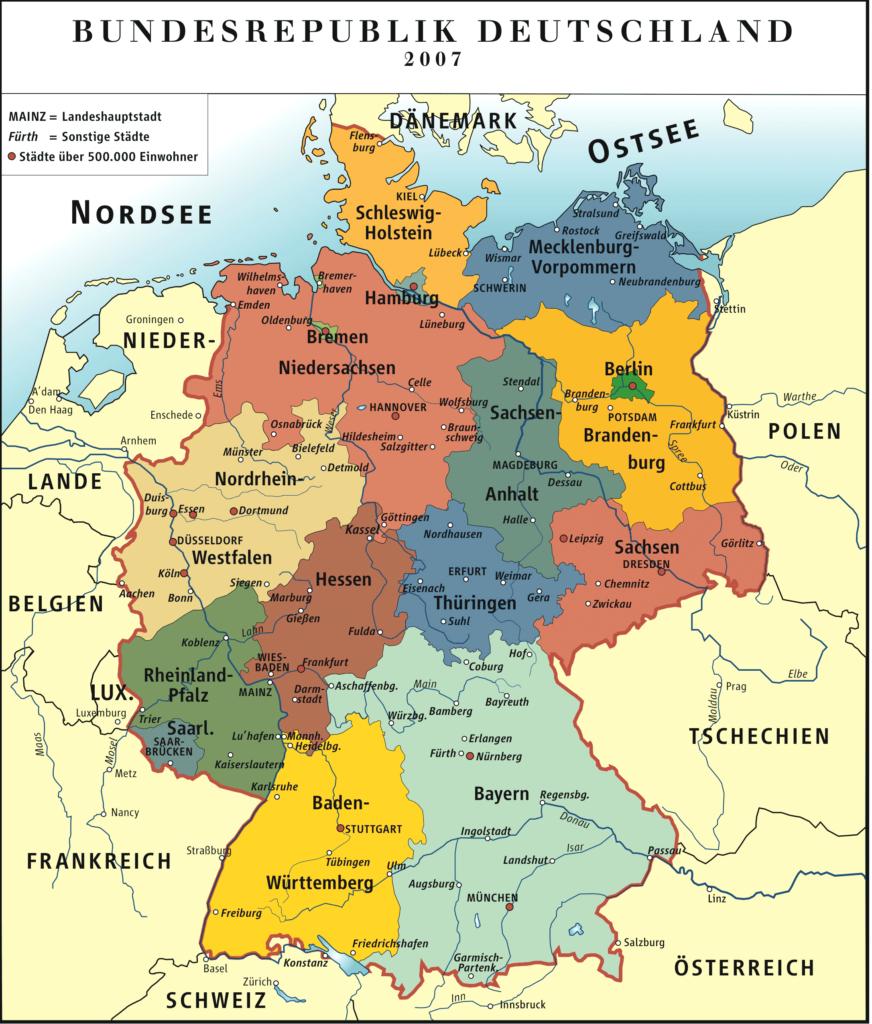 Les États fédérés en Allemagne.