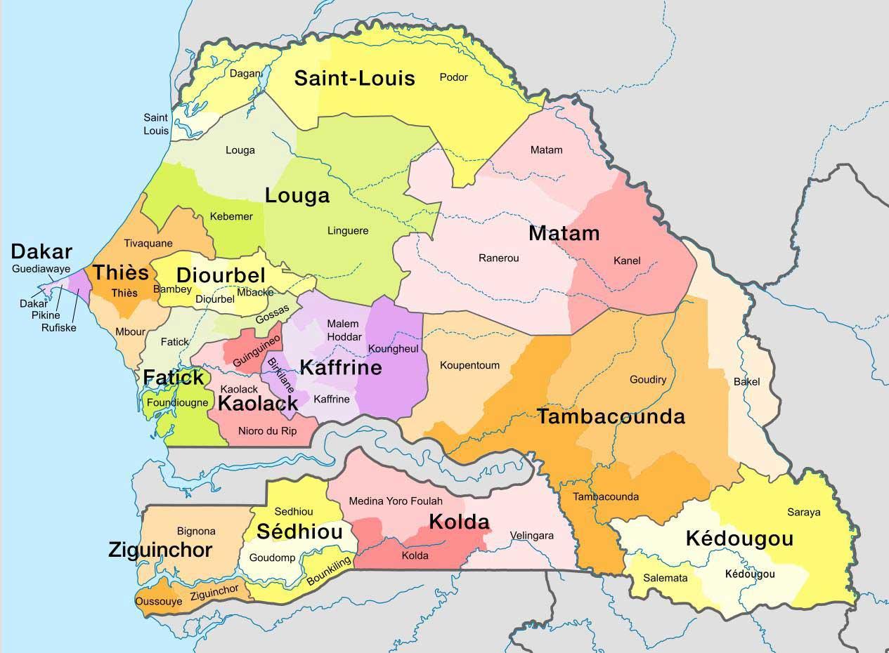 Senegal Afrique Du Sud Carte.Carte Du Senegal Vacances Arts Guides Voyages