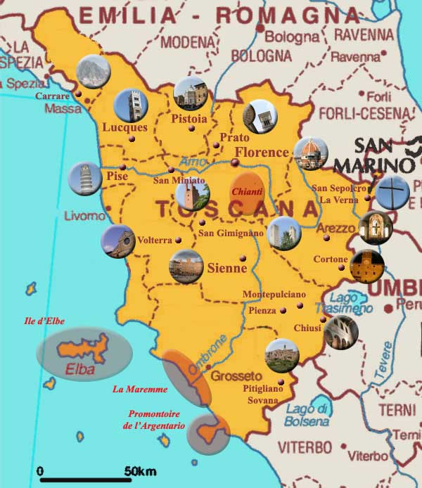 Carte de la Toscane touristique